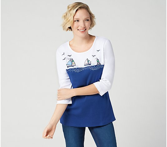 Quacker Factory Color-Blocked Nautical Embroidered Knit Top