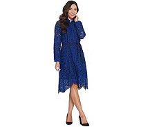 Isaac Mizrahi Live! Special Edition Lace Dress with Grosgrain Belt - A345607