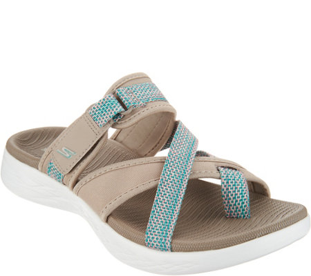 """As Is"" Skechers On-The -GO Toe Loop Sport Sandals- Glow"