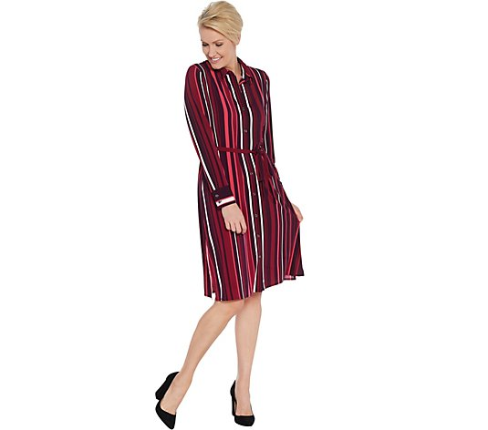 Susan Graver Printed Liquid Knit Button-Front Shirt Dress