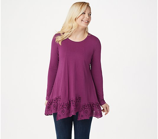 LOGO by Lori Goldstein Cotton Modal Top with Step Eyelet Hem