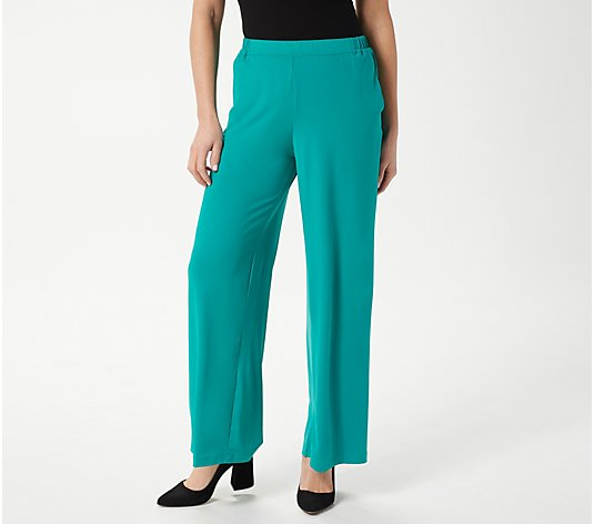 Bob Mackie Regular Wide-Leg Knit Pants with Pockets