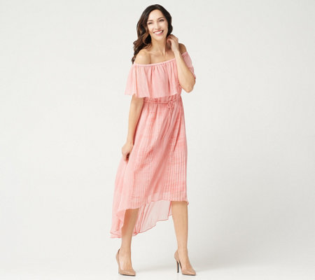 H by Halston Petite Convertible Pleated Hi-Low Hem Maxi Dress