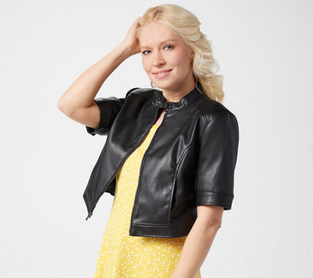 Isaac Mizrahi Live Elbow Sleeve Faux Leather Cropped Jacket