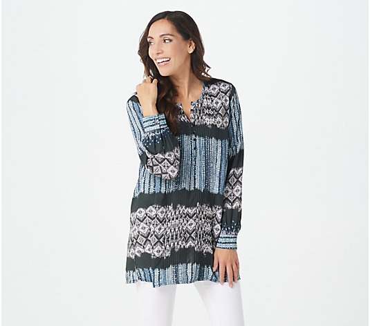 Tolani Collection Petite Printed Woven Tunic w/ Pleat Detail