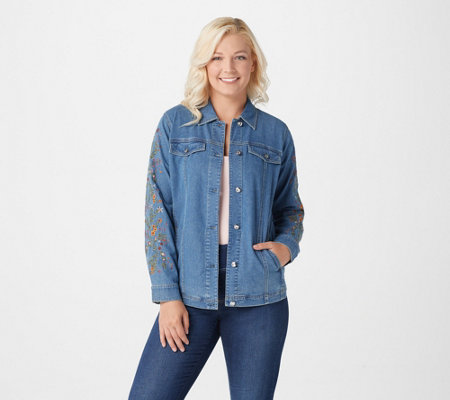 Quacker Factory Embroidered Denim Jacket