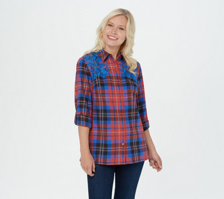 Denim & Co. Stretch Weave Long-Sleeve Plaid Shirt w/ Embroidery