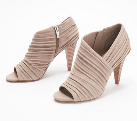 Vince Camuto Leather or Suede Peep-Toe Ruched Booties - Anara