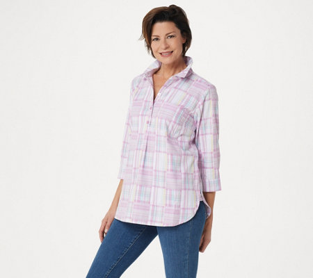 """As Is"" Joan Rivers Patchwork Plaid Tunic Top"