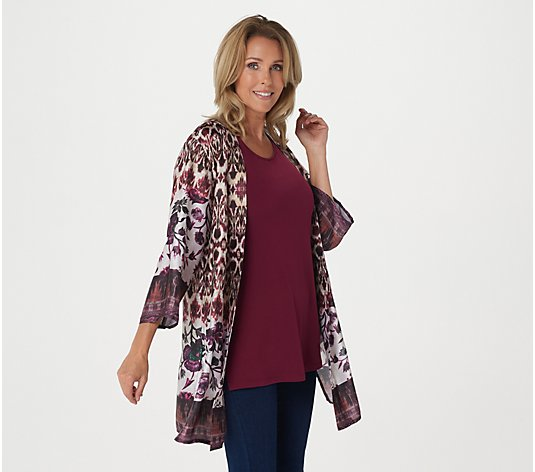"""As Is"" Susan Graver Printed Charmeuse Cardigan and Knit Tank Set"