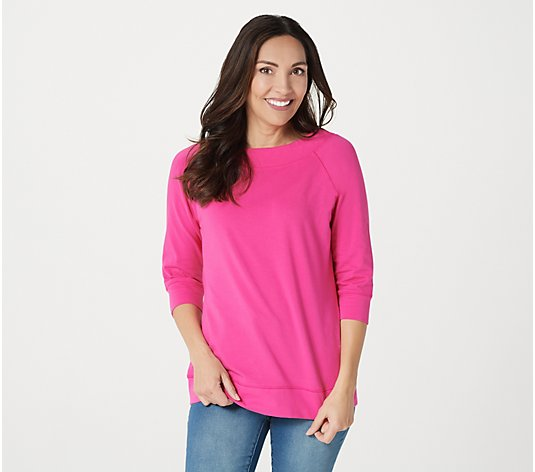 Denim & Co. Essentials Perfect Jersey Boatneck 3/4 Sleeve Top