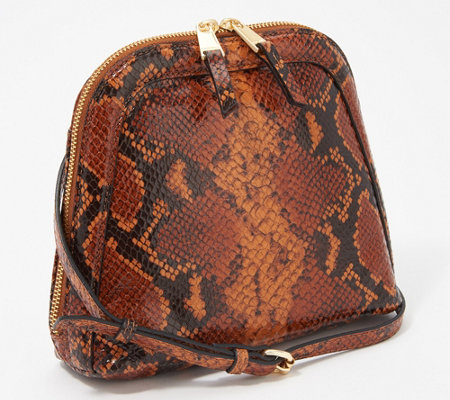 """As Is"" Tignanello Snake Printed Morocco Leather Capri Crossbody"