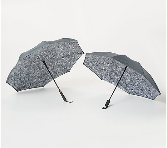 Revers-a-Brella Set of 2 Long and Portable Umbrellas