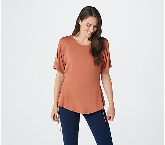 """As Is"" Lisa Rinna Collection Short Sleeve Lace Up Top"