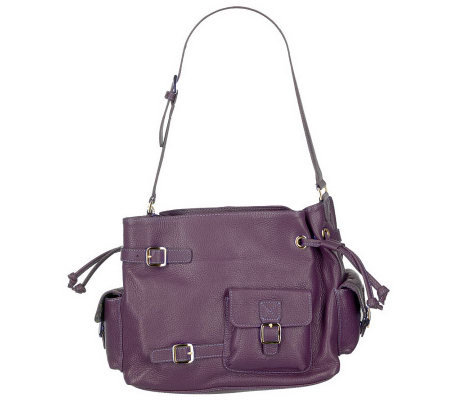 7c0eee478ed Maxx New York Pebble Leather Shoulder Bag w Drawstring   Buckle Detail