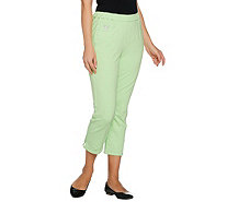 Quacker Factory DreamJeannes Crop Pants w/Rhinestone Zipper - A231908