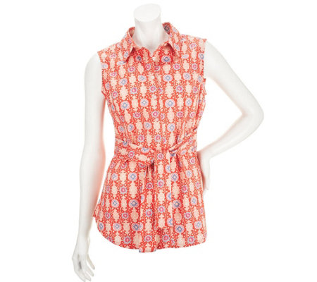 Liz Claiborne New York Printed Tunic with Tie Waist