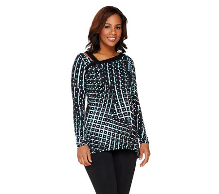 SA by Seth Aaron Printed Knit Long Sleeve Top