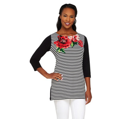 Susan Graver Striped & Solid Liquid Knit Tunic with Placement Print