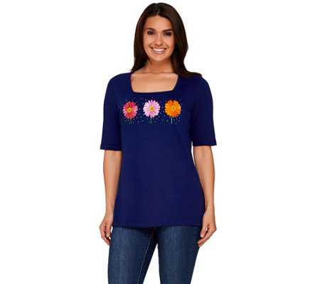 Quacker Factory Daisy Fun Square Neck Elbow Sleeve T-shirt