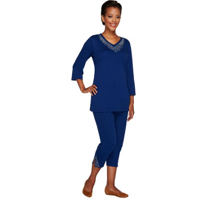 Quacker Factory Embellished Tunic and Crop Pants