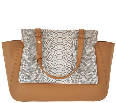 H by Halston Smooth Leather Satchel with Snake Embossed Flap