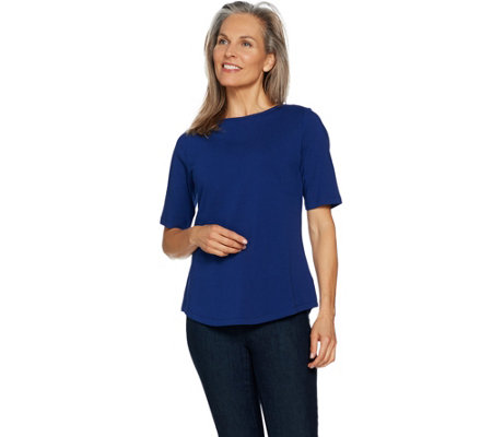 Denim & Co. Essentials Elbow Sleeve Top with Curved Hem