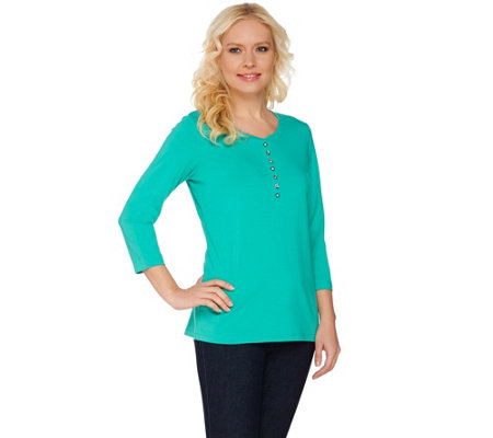 Susan Graver Weekend Cotton Modal Scoop Neck Top with Bead Detail