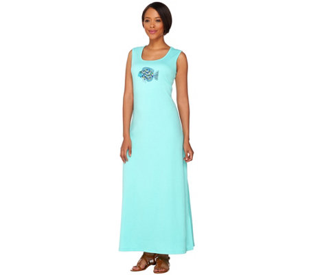 Quacker Factory Short Sleeveless Maxi Dress with Sequined Motif