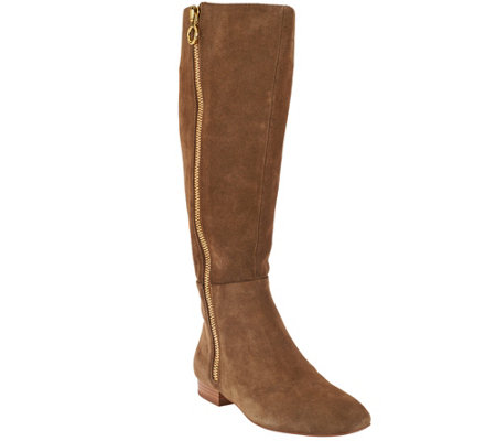 """As Is"" H by Halston Suede Tall Shaft Exposed Zipper Boots - Amber"