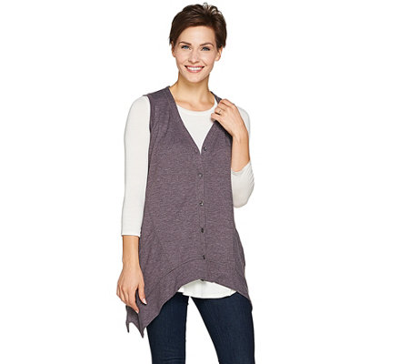 LOGO Lounge by Lori Goldstein Button Front Vest with Seaming Detail
