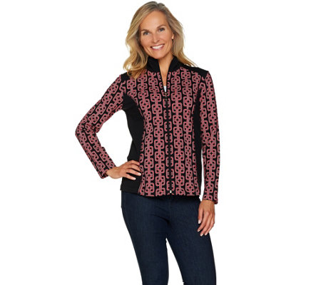Susan Graver Weekend Printed French Terry Zip Front Jacket