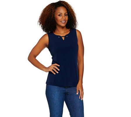 Susan Graver Liquid Knit Tank with Grommet Trim