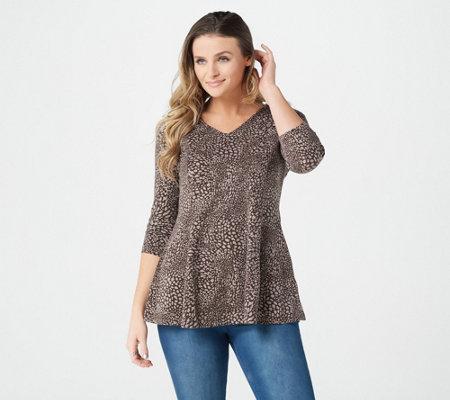 1316d47ea31 Denim & Co. Animal Print 3/4 Sleeve V-Neck Fit & Flare Tunic Top ...