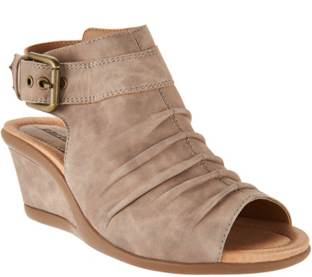 Earth Leather Ruched Peep-toe Wedges - Adina