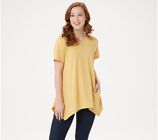 LOGO by Lori Goldstein Cotton Modal Knit Top with Button Detail