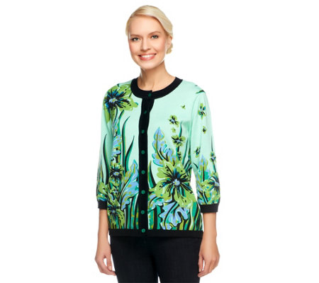 """As Is"" Bob Mackie's Sweater Knit Floral Placed Print Cardigan"