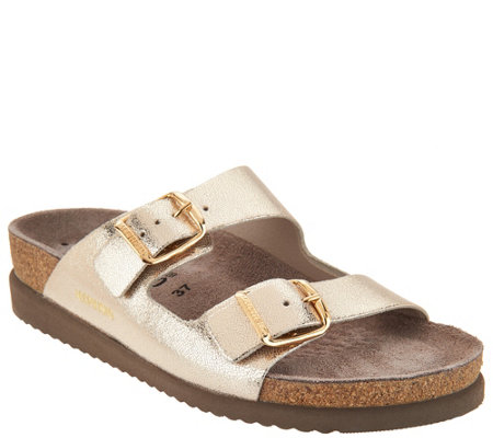MEPHISTO Leather Double Strap Slide Sandals - Harmony
