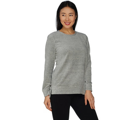 Denim & Co. Active Spacedye Velour Hi-Low Hem Crew Neck Top
