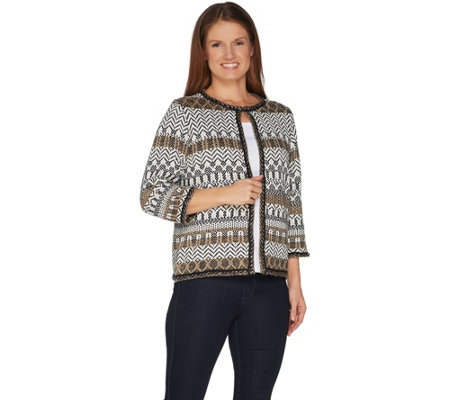 Joan Rivers Jacquard Knit Cardigan with 3/4 Sleeves