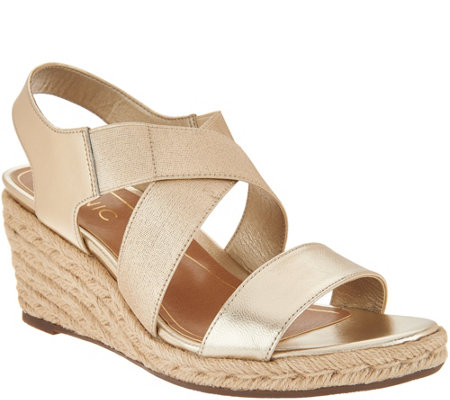 Vionic Leather Espadrille Wedges - Ainsleigh