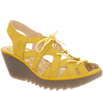 6de86992292bf1 FLY London Leather Lace Up Wedge Sandals - Yapi - A305108