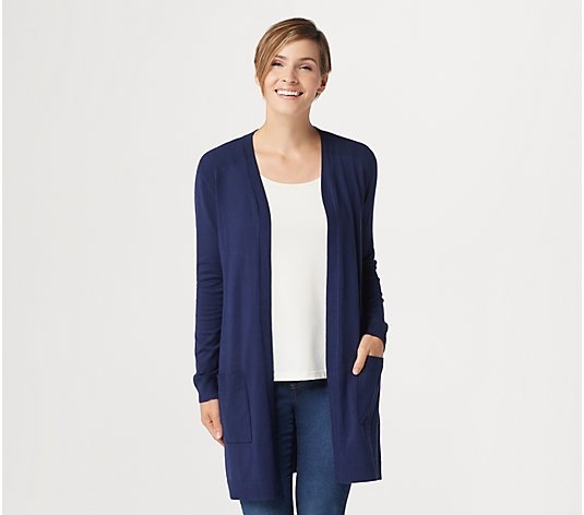 Belle by Kim Gravel Feather Knit Open Front Long Cardigan
