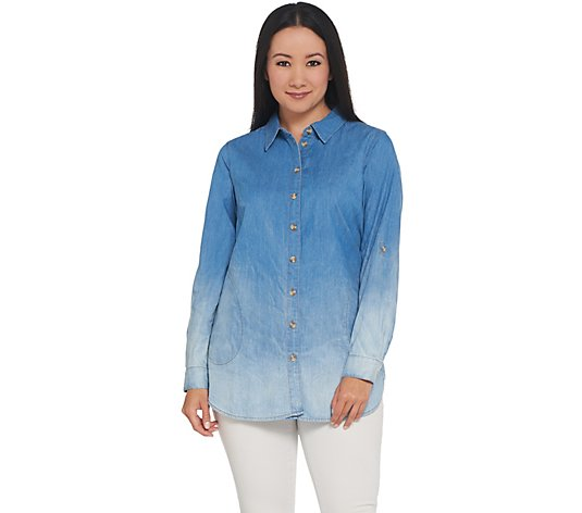 Joan Rivers Petite Length Denim Shirt with Sand Wash Detail