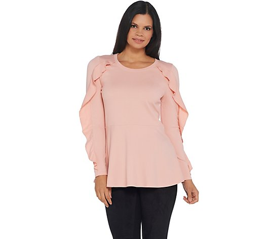 Isaac Mizrahi Live! Ruffle Long Sleeve Peplum Knit Top