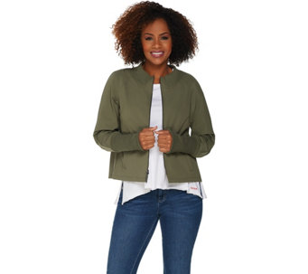 As Is Peace Love World Zip Front Nylon Jacket With Peplum Back A