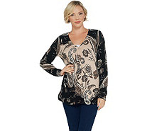 Isaac Mizrahi Live! V-Neck Engineered Paisley Printed Cardigan - A343608