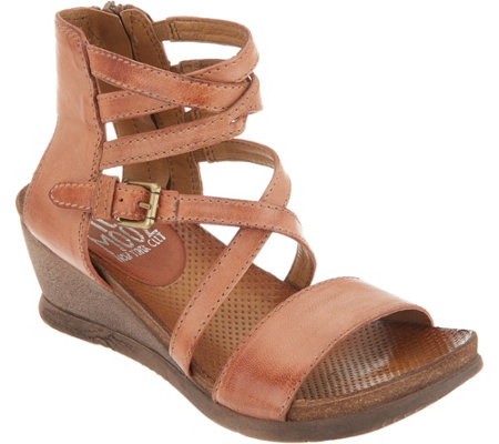 """As Is"" Miz Mooz Leather Multi Strap Wedge Sandals- Shay"