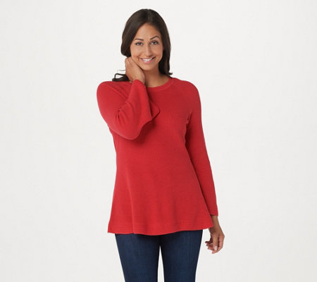 """As Is"" Isaac Mizrahi Live! Crew Neck Peplum Sweater w/Bell Sleeves"