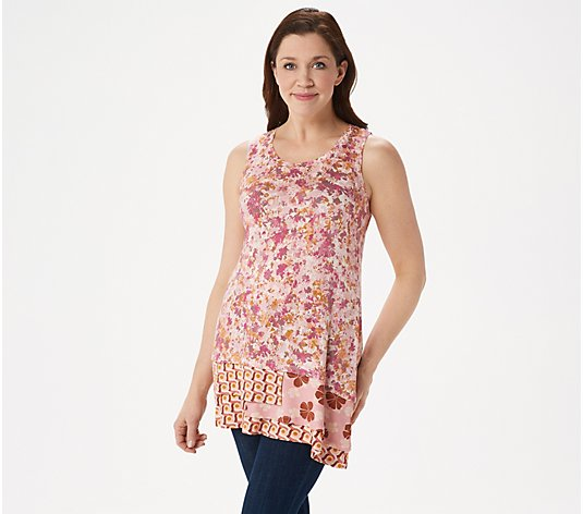 LOGO Layers by Lori Goldstein Knit Tank with Contrast Print Panel at Hem